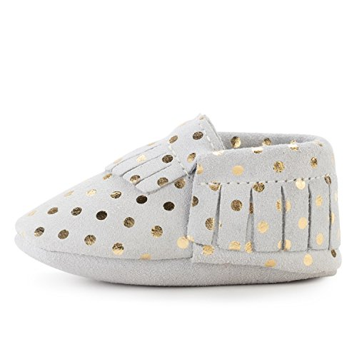 BirdRock Baby Moccasins - 30+ Styles for Boys & Girls! Every Pair Feeds a Child (US 5.5, Champagne)