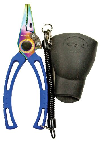 Mustad 7.5-Inch SS Pliers with Rainbow Titanium Coating with Sheath, Silver (Van Staal Pliers)
