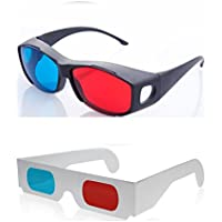 HRINKAR Anaglyph 1 Plastic +1 Paper 3D Glasses for Mobile Phone, Computer, Laptop, TV, Magazines and Projector(Red and Cyan)