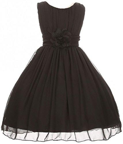 Big Girls' Elegant Yoryu Wrinkled Chiffon Summer Flowers Girls Dresses Black 14 G35G34]()