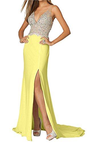 Gelb Rot Hell Partykleider Ballkleider mia mit Steine Elegant V Lang Zahlreichen Ausschnitt Braut La Festlichkleider Abendkleider 6ZxwCt