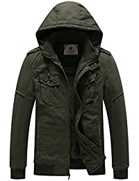 WenVen Men's Hooded Sherpa Parka Jacket