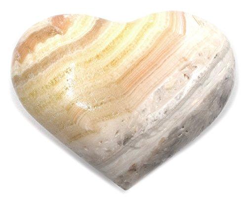 Pretty Honey Onyx Aragonite Heart Figure, 4.5