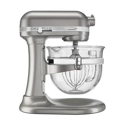 KitchenAid KSM6521XSR Professional 6500 Design Series Sugar Pearl Silver Bowl-Lift Stand Mixer with 6 Quart Glass Bowl