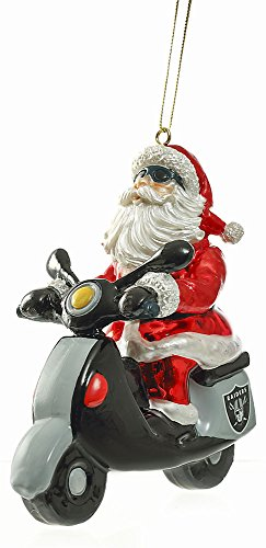 Glass Oakland Raiders Santa Scooter Ornament