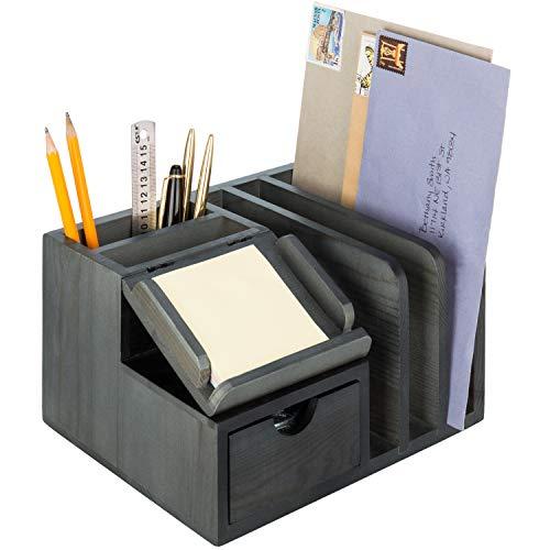 Desktop Purpose Multi Wood Organizer (MyGift Vintage Grey Wooden Desktop Organizer with Sticky Note Pad Holder & Mail Sorter)