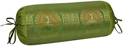 blt00046 indio decorativo trabajo funda cojín cilíndrico ...