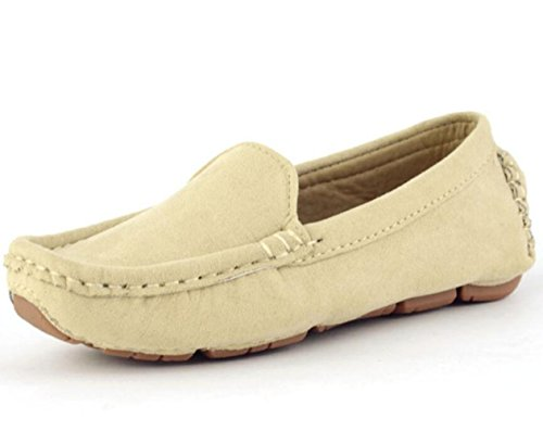 DADAWEN Girl's Boy's Suede Slip-on Loafers Oxford Shoes Beige US Size 11.5 M Little Kid