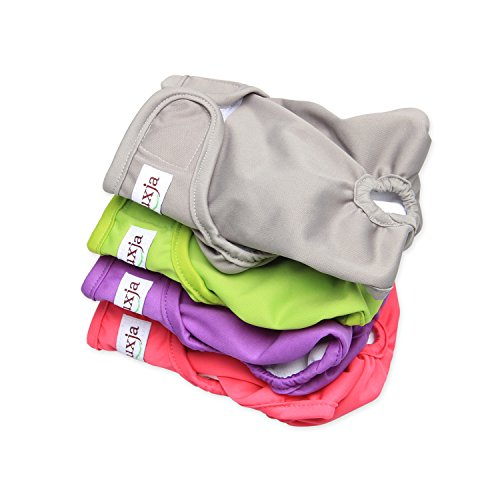 LUXJA Reusable Female Dog Diapers (Pack of 4), Washable Wraps for Female Dog (Small, Gray+Green+Purple+Rose Red)
