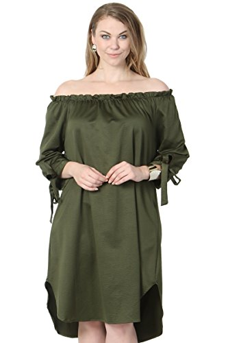 Shoulder Tie Cuff Draped Satin Shift Dress Olive 2XL (Draped Satin Dress)