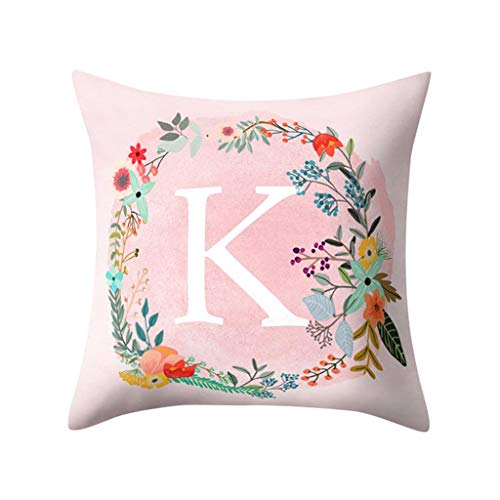 Littay Throw-Pillow-Covers, English Alphabet Pillow Print Cushion Flower Pillowcase Cover Room Decoration ()