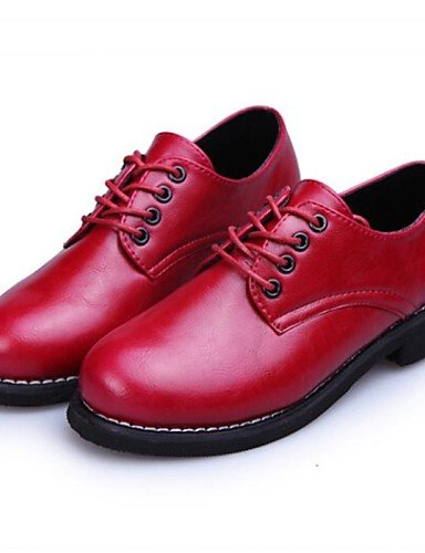 Negro Tacones rojo Cuero Para us8 Uk6 us8 Ancho Redondo dedo Sintético marrón Cn39 Hug Brown Mujeres Red Tacón Eu39 Njx Oxfords XqwpvI1BE