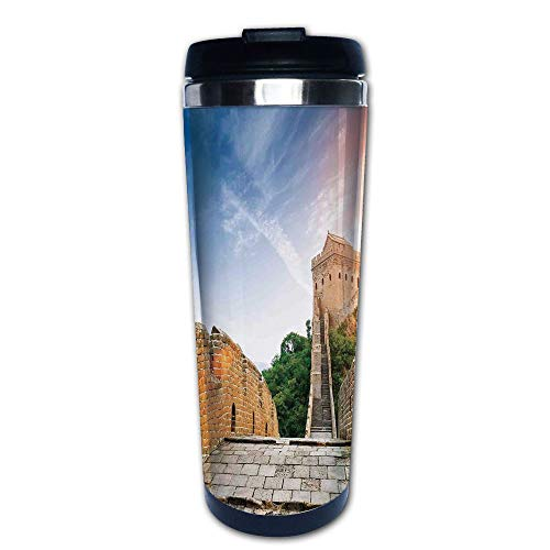 Grinder Coffee Dynasty - Stainless Steel Insulated Coffee Travel Mug,Dynasty Monument on Cliffs Historical Countryside,Spill Proof Flip Lid Insulated Coffee cup Keeps Hot or Cold 13.6oz(400 ml) Customizable printing