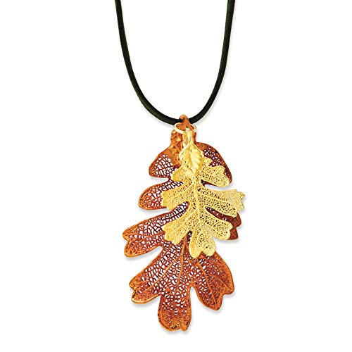 "Venture Roses & Leaves Collection Iridescent Copper & 24k Gold Dipped Oak Leaf Necklace w/Leather Cord 20"" in Gift Box"