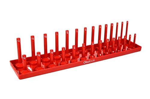 (Olsa Tools | 1/2-Inch Drive Socket Organizer Tray | Red SAE Socket Holder | Premium Quality Tool Organizer)