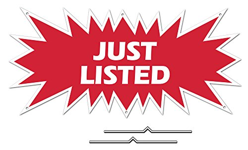 """JUST LISTED Starburst Sign Rider - Red Real Estate Corrugated Sign Kit INCLUDES 2 - 8"""" D-Wire Stakes"""