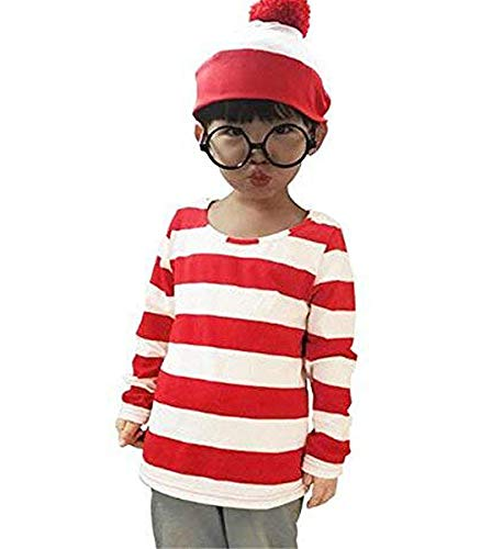 COSTHAT Toddlers Kids Where's Waldo Now Cosplay Costume Shirt Funny Striped Sweatshirt Glasses Hat (Small) ()