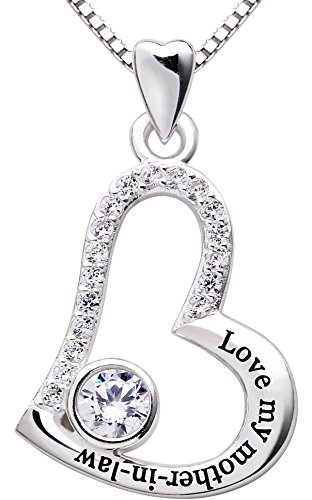 ALOV Jewelry Sterling Silver Love My Mother-in-Law Love Heart Cubic Zirconia Pendant Necklace