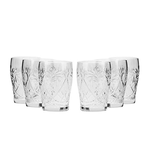 Set of 6 Neman Glassworks, 5-Oz Hand Made Vintage Russian Crystal Beverage Glasses, Mixed Drinkware Old-fashioned Glassware (Fiestaware Juice Glasses)