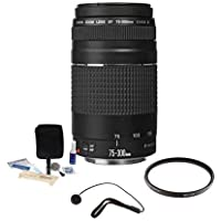 Canon EF 75-300mm f/4-5.6 III Lens with 58mm UV Filter and KM Cleaning Cloth