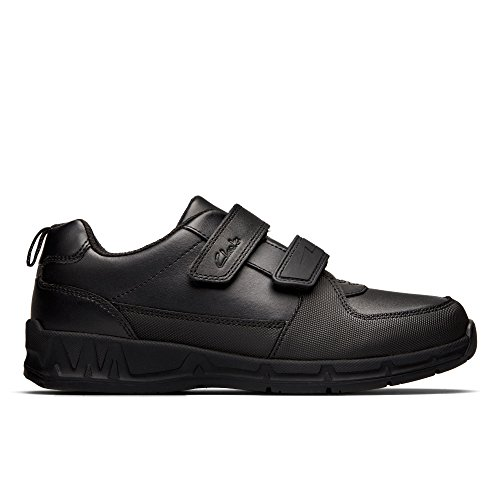 Clarks Maris Fire Junior Leather Shoes In Black Narrow Fit Size 2