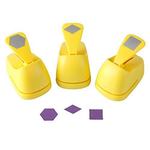 Craft Lever Punch 1-inch DIY Handmade Paper Punch for Festival and Greeting Card Making Ten Shapes Choices(Hexagon-Rhombus-Ware Square)