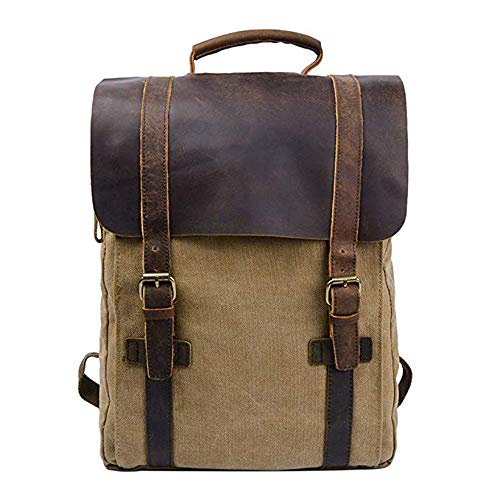 De Para Portátil Genuino 15 Pulgadas La Lona Brown Mochila Unisex Viajes Wy Escuela ayng 32 40cm Vintage brown Cuero Portatil 11 Bolso qf6ZOXvw