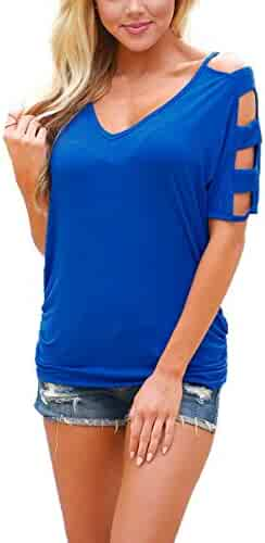 cbcbfdbc0cf9a4 DREAGAL V Neck T Shirts Casual Loose Cut Out Shoulder Summer Tops Blue S