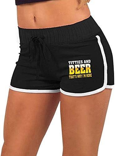 fshsh limeiliF Fitness-Shorts/Sportswear-Shorts für Damen Titties & Beer Deshalb Bin ich Hier Lustige Frauen Sommer Sexy Niedrige Taille Heiße Hosen Workout Shorts Kordelzug Taille