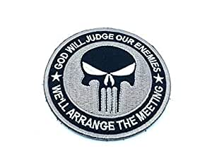 Punisher God Will Judge Our Enemies Gris Bordado Airsoft Velcro Patch