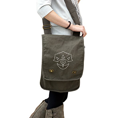 Mask Of Truth Zelda 14 oz. Authentic Pigment-Dyed Canvas Field Bag Tote (Messenger Zelda Bag Canvas)