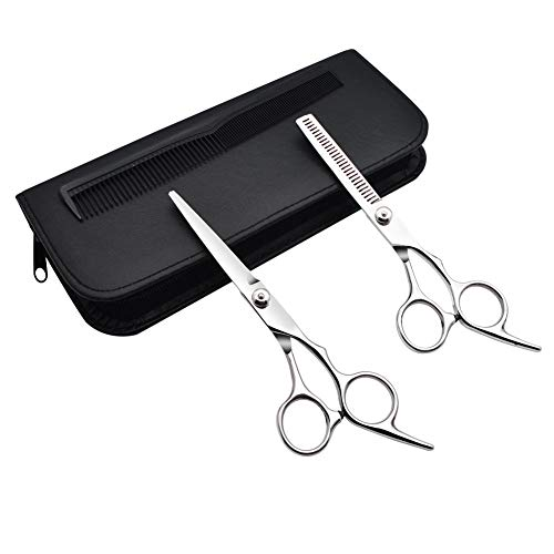 - GreeSuit Dog Grooming Shears Barber Hair Cutting Stainless Steel Hairdressing Scissors for Pet or Personal Professional Use, 1 Straight Edge Hair Scissor, 1 Texturizing Thinning Shears - Set of 2
