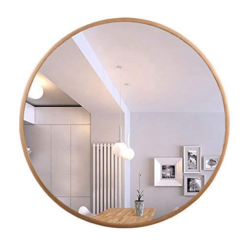 SDK Round wall mounted aluminum alloy framed bathroom mirror- Large vanity mirror shaving mirror magnifying mirror vanity mirror - bedroom living room hallway (color : Titanium Gold, Size : 60cm)