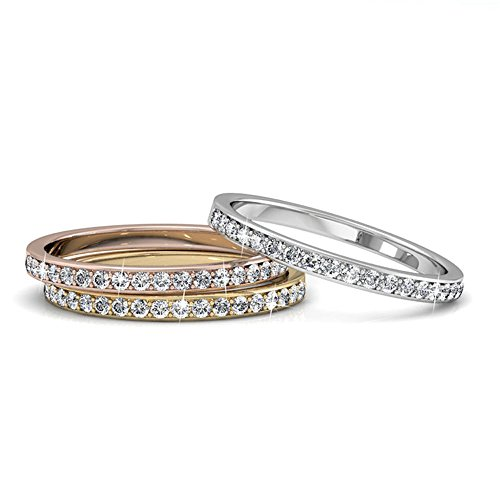9f4663dbe Cate & Chloe Elizabeth 18k Tri-Colored Gold Plated Ring Set, Stackable Rings ,