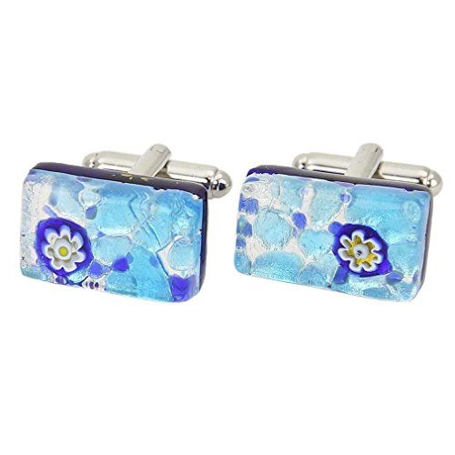 Glass Venetian Classic Rectangular Cufflinks - Aqua Blue ()