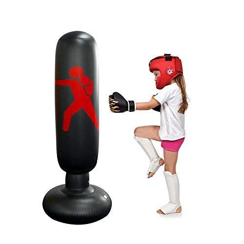Hamkaw Saco de Boxeo Hinchable, Columna de Boxeo Inflable para Adulto y Niños, Altura Ajustable 80-160cm, Base Extra Gruesa Que no Cae al Suelo, Niños ...