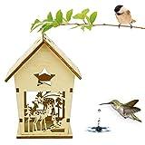 Loneflash Wooden Bird House, Outside/Indoors/Hanging | Kits Children & Adults | Decorative Birdhouse & Home Decoration | Outdoors Feeder Birds, Bluebirds, Wrens & Chickadees