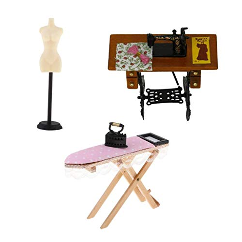 (Prettyia 3pcs Dollhouse Miniature Ironing Board, Sewing Machine & Mannequin Model Stand)