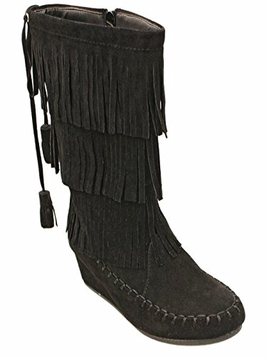 Peggy Girls Kids Layered Fringe Suede Moc Toe Moccasin Wedge