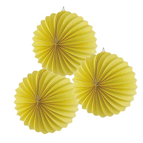 Paper Accordion Lanterns Birthday New Year Wedding Valentine Anniversary Decoration, 3 Pieces, 7.5'', Easy Joy (Yellow)