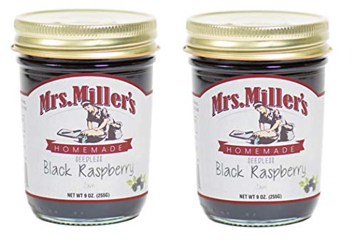 Mrs. Millers Amish Made Seedless Black Raspberry Jam 9 Ounces - 2 Pack