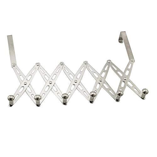 304 Stainless Steel Telescopic Over The Door Hook Organizer Rack Hanging Towel Rack Over Door, 6 Hooks 1 Pack by KKhouse (Image #1)