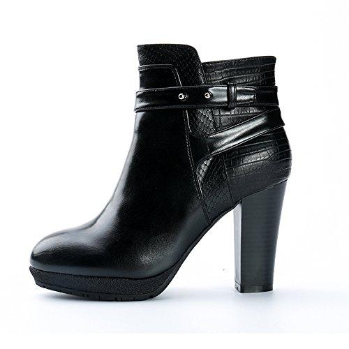 Alexis Leroy Plateau Ankle Boots mit Absatz Damen Kurzschaft Stiefel Schwarz