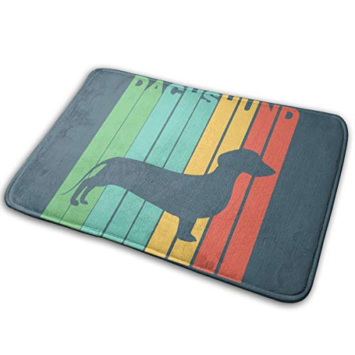 LNUO-2 Indoor Outdoor Entrance Doormat Vintage Style Dachshund Silhouette Rug Floor Mats for Garage, Shoe Rugs