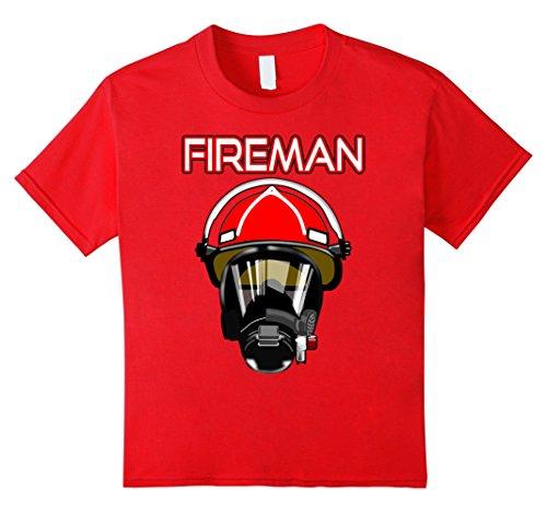 unisex-child FIREMAN T-SHIRT FIRE FIGHTER TEES FOR MEN WOMEN KIDS 8 Red (Kids Fireman Mask)
