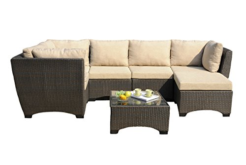 WUnlimited 7-Piece Outdoor Patio Furniture Set Coffee Table Cushions Infinity Collection, Black Wicker -