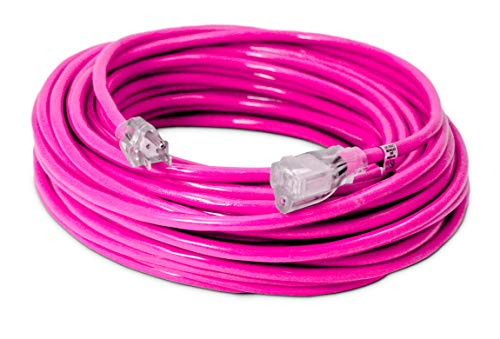 100-ft 14/3 Heavy Duty Lighted SJTW Indoor/Outdoor Extension Cord by Watt's Wire - Long Pink 100' 14-Gauge Grounded 13-Amp Three-Prong Power-Cord (100 foot 14-Awg)