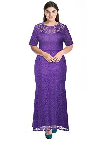Beautiful Gown (Myfeel Plus Size Lace Dress 2 layers Sheath Patchwork Cocktail Maxi Evening Gown (1X, Purple))