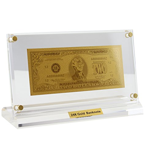 USA 24Kt 0.999 Gold Plated 2 USD Bill Limited USA Bank Note