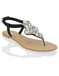 Essex Glam womens t-bar synthetic sparkly rhinestone flat toe post sandal shoes
